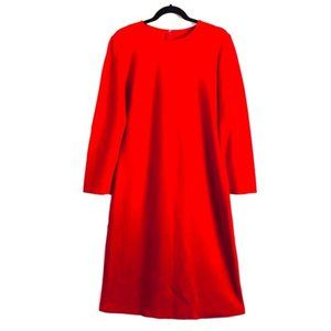 St. John Knit Dress Long Sleeve Midi Red Size 12
